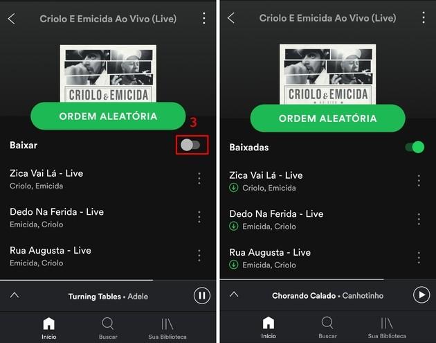 Baixar um álbum ou playlist do Spotify para o celular