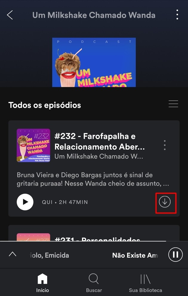 Baixar podcast do Spotify no celular