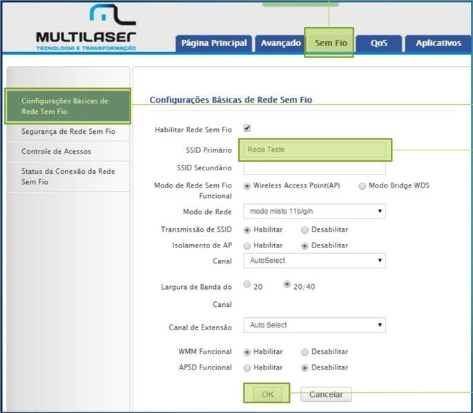 Página de configuração do roteador da Multilaser