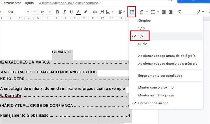 Inserir espaçamento no sumário do Google Docs