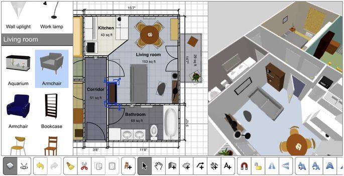 Tela de edição do site de criação de plantas Sweet Home 3D