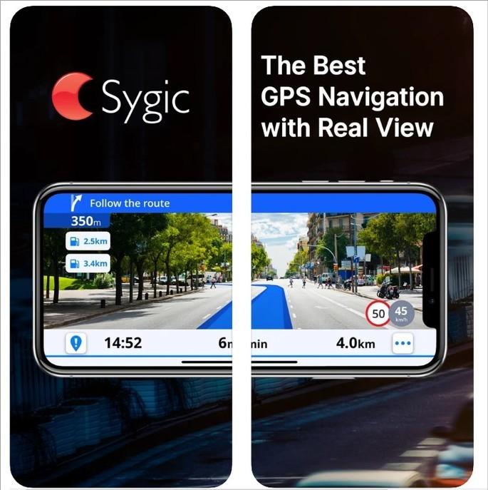 Imagem de divulgação do app de GPS offline Sygic GPS Navigation