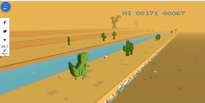 Dinosaur Game 3D, é uma versão colorida e em 3D do jogo do dinossauro do Google