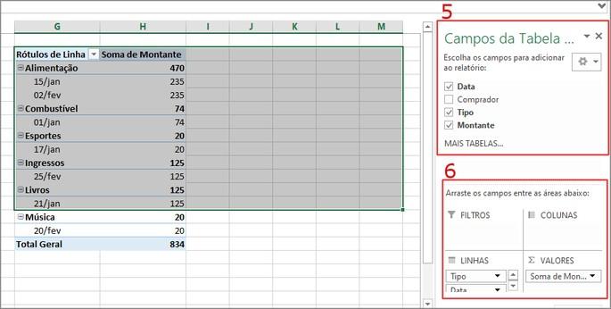 Tabela dinâmica Excel
