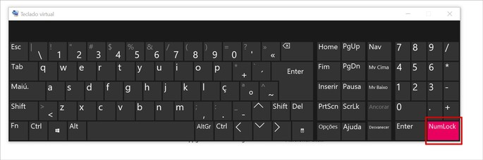Tecla Num Lock no teclado virtual do Windows
