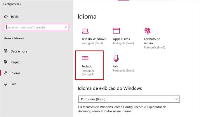 Acessando o item teclado das Configurações de idioma do Windows