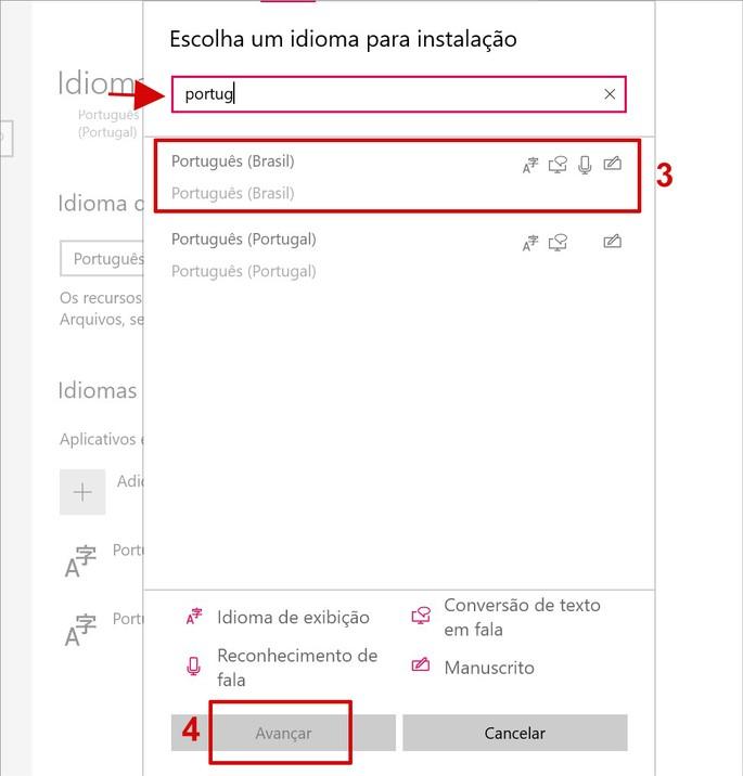 Configuração de idioma do teclado do Windows