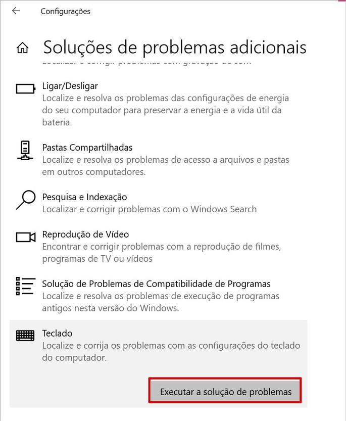 Executar soluções de problemas para teclado no Windows