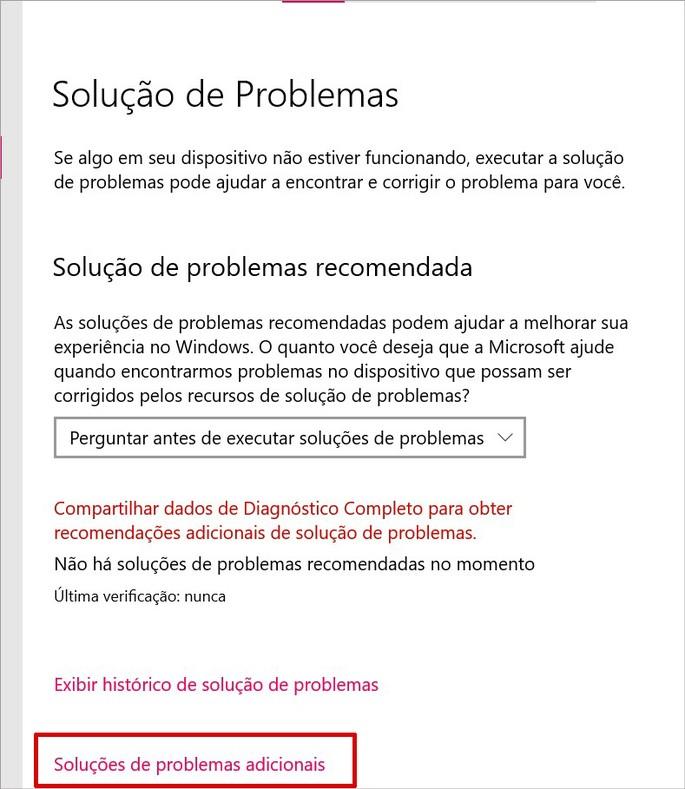 Recurso de solução de problemas do Windows