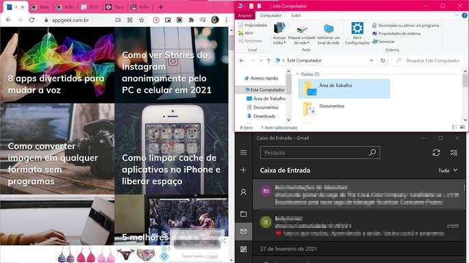 Dividir a tela do windows em 3 ou 4 partes