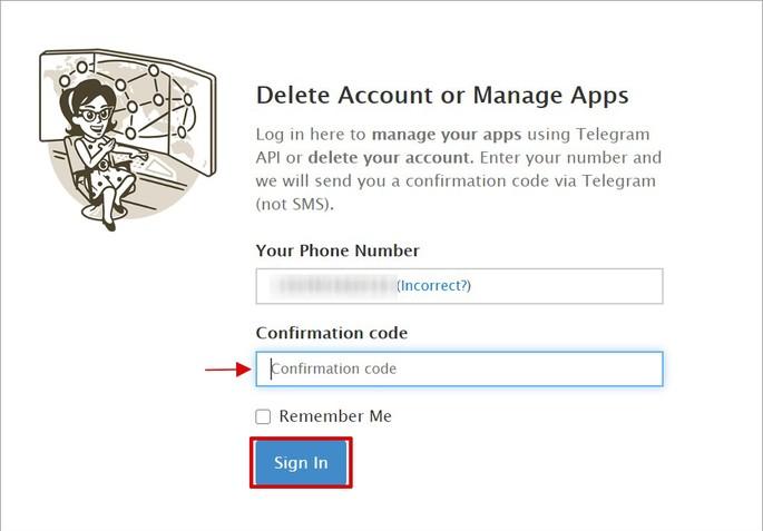 Página de desativação do Telegram