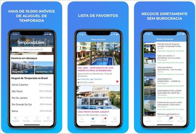 Imagens de divuglação do app de aluguel de imóveis Temporada Livre