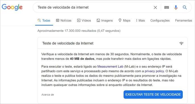 Teste de velocidade de internet exibido no resultado da busca do Google