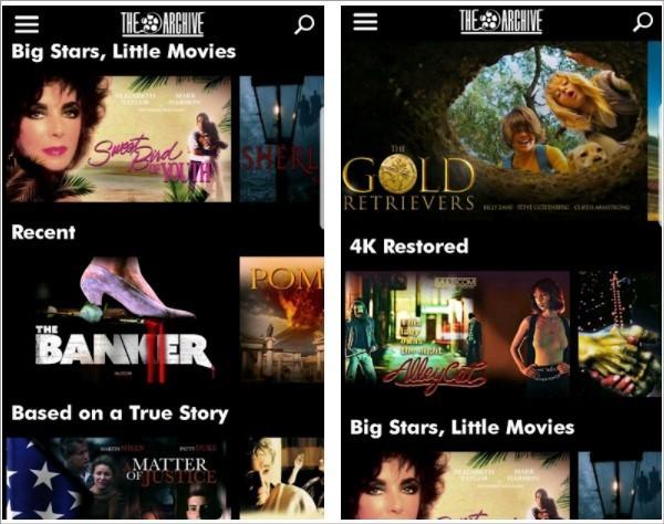 Imagem de divulgação do app de streaming de filmes raros The Archive