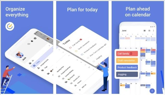 Imagens de divulgação do app de gerenciamento de tarefas para Android TickTick
