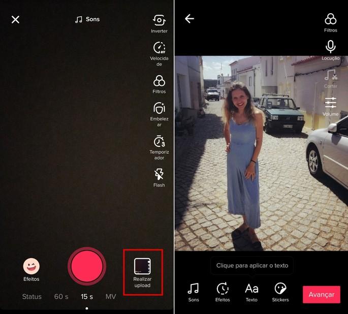 O TikTok também permite fazer vídeos com fotos e música