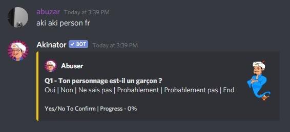 Bot do Akinator em um servidor do discord