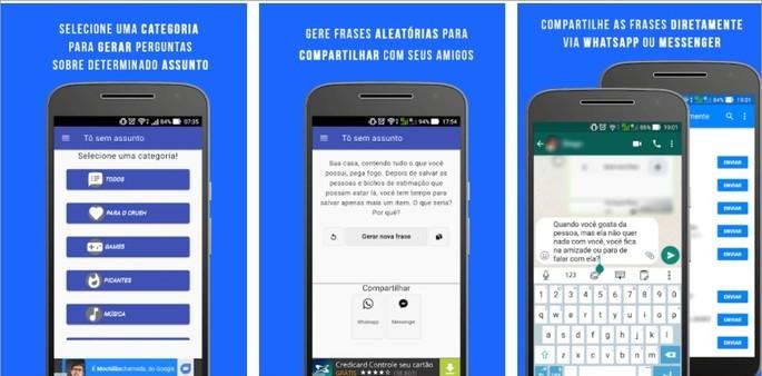 Imagem de divulgação do app de geração de frases Tô sem assunto