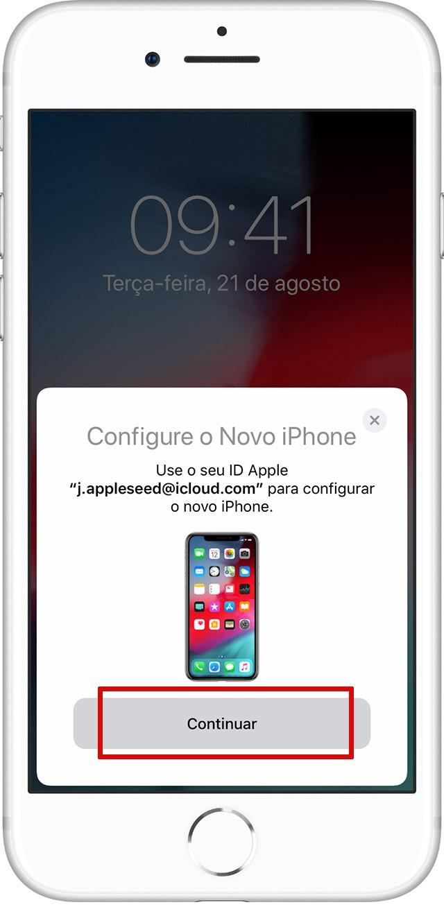 Tela de Início Rápido em um iPhone