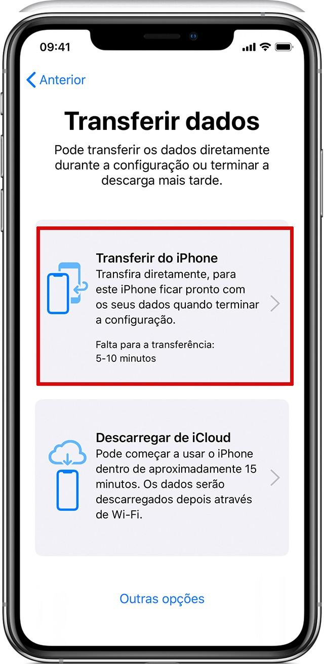 Tela de transferência de dados entre iPhones por Migração de iPhone