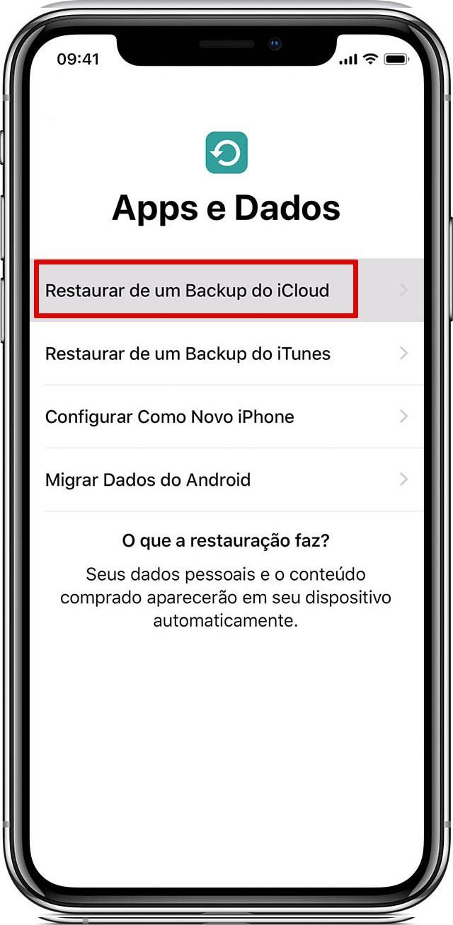Tela de transferência de dados no iPhone via iCloud