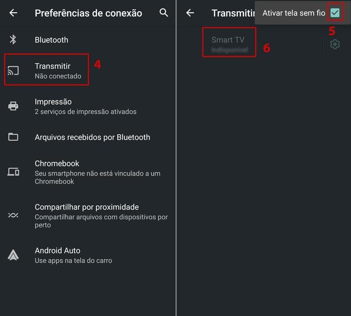 transmissão de tela Android