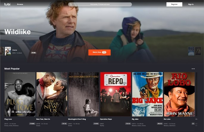 Captura de tela do site de streaming Tubi