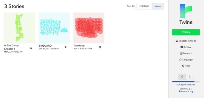 Tela da versão online do app de criação de jogo Twine