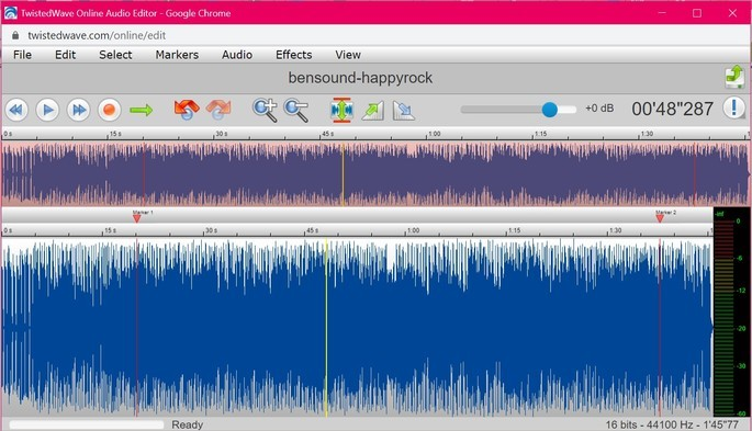 Captura de tela do editor de áudio online Twisted Wave