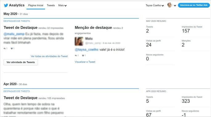 Ferramenta de análise de tweets Twitter Analytics