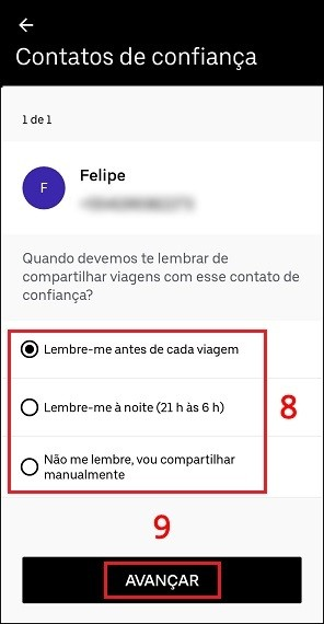 Como adicionar contato de confiança no Uber
