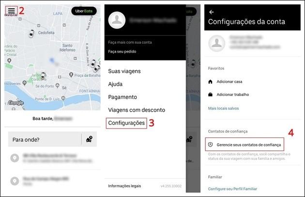 Como adicionar contatos de confiança no Uber