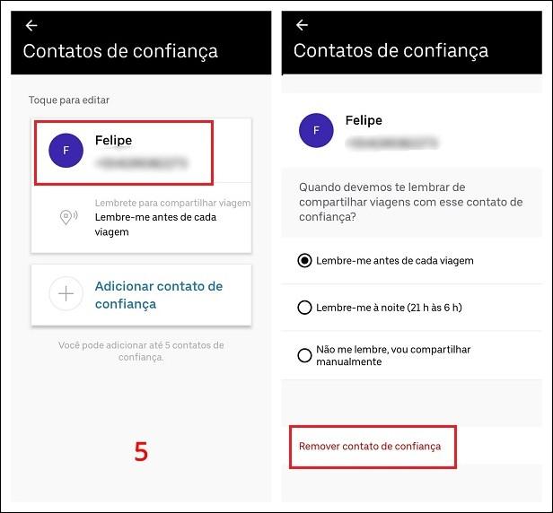 Como remover contato de confiança do Uber