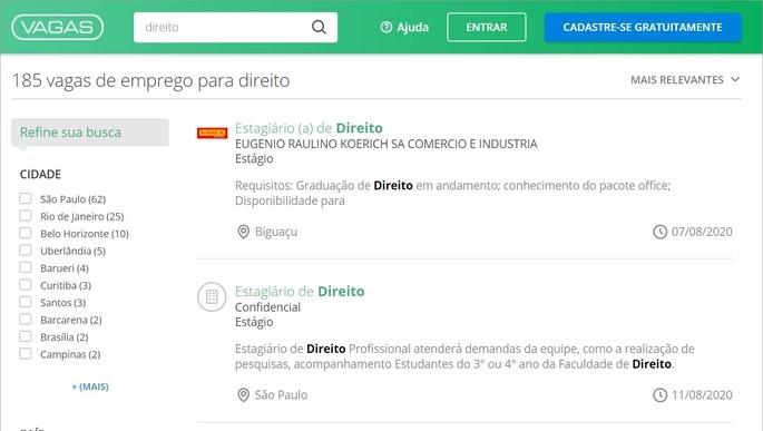Ferramenta de busca de empregos do Vagas.com.br