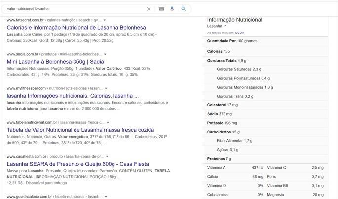 O Google fornece informações nutricionais dos alimentos pesquisados
