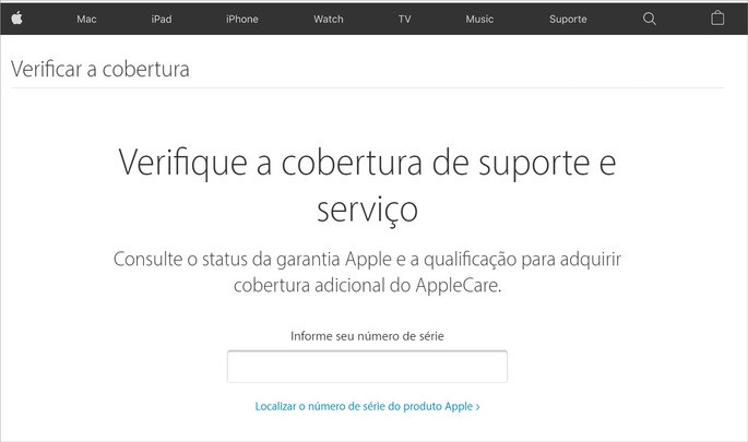 Página de verificação de cobertura da Apple
