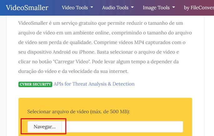 reduzir tamanho do vídeo