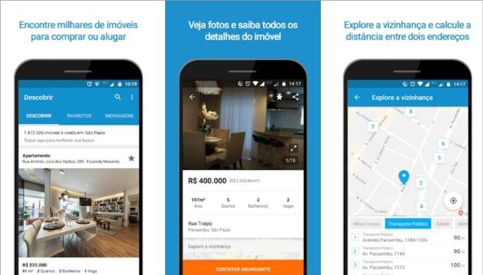 Imagens de divulgação do app de compra e aluguel de imóveis VivaReal