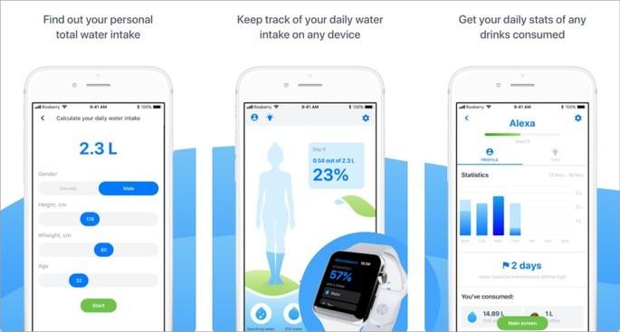 Imagens de divulgação do app Waterbalance