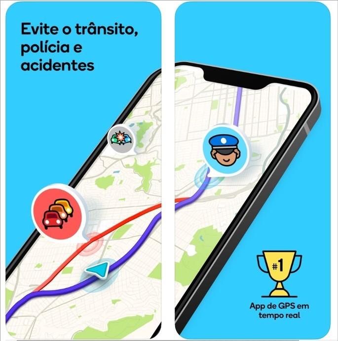 Imagens de divulgação do Waze na App Store