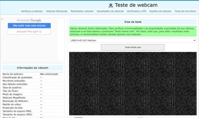 Captura de tela do site webcam test