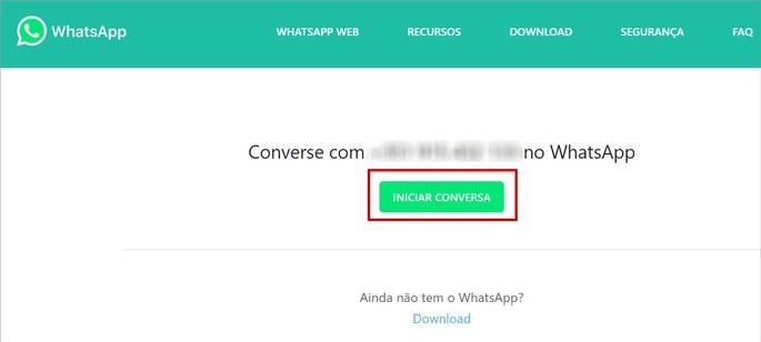 Página do recurso Conversa em um clique do WhatsApp