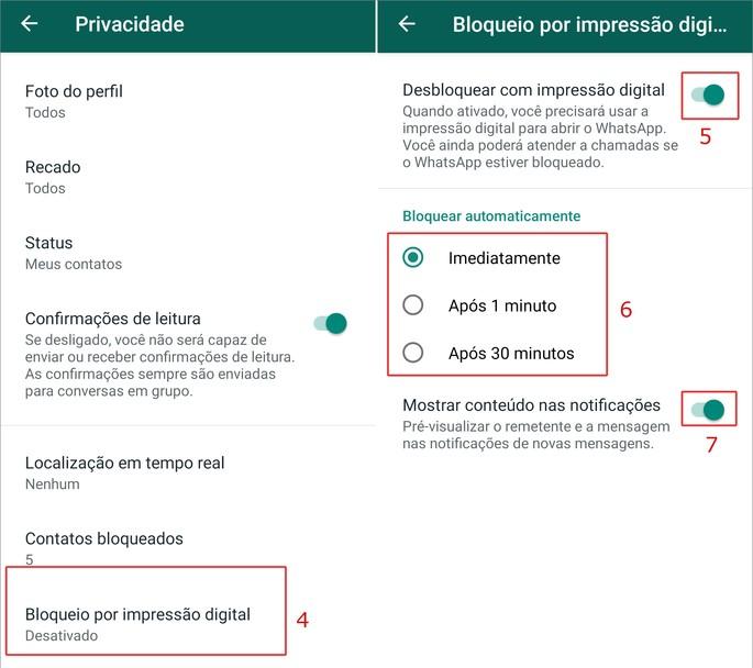 Desbloqueio WhatsApp impressão digital