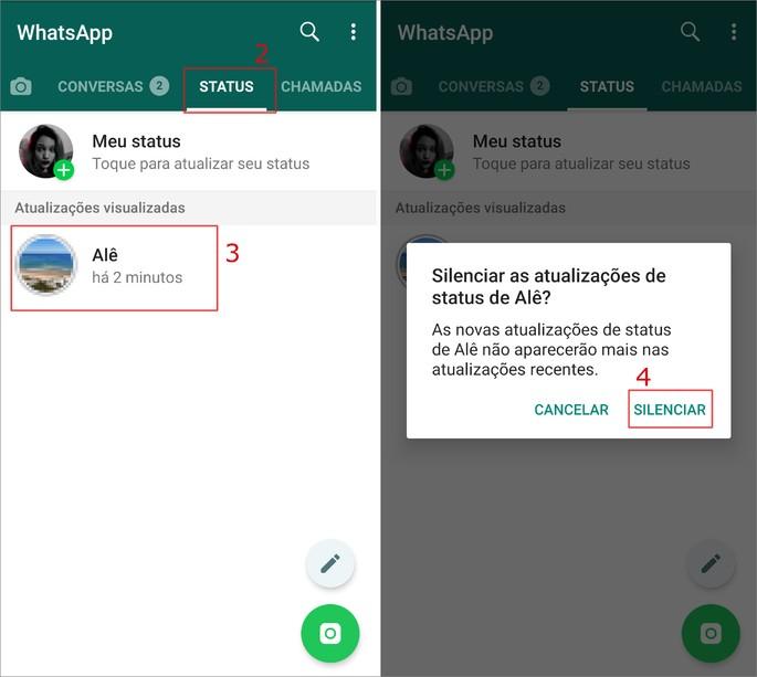 Como silenciar status do WhatsApp