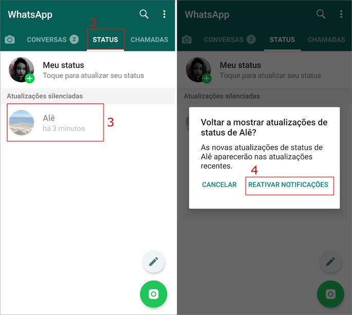 Como silenciar o status do WhatsApp