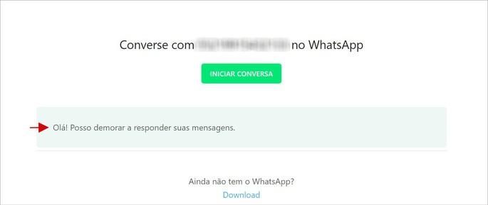 LInk para conversa do WhatsApp com mensagem predefinida