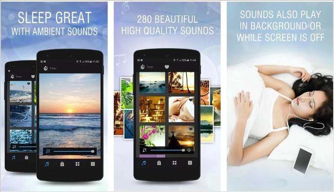 Imagens de divulgação do app White Noise Sleep Sounds na Google Play