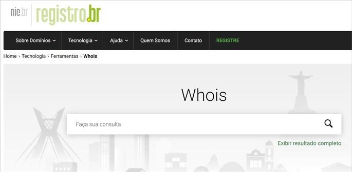 Captura de tela do site Whois