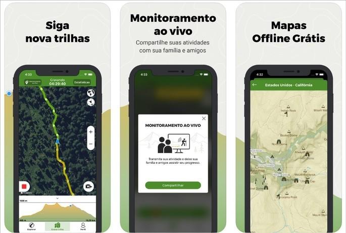 imagens de divulgação do app Wikiloc na App Store