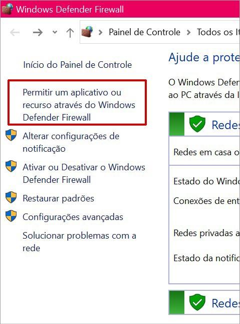 Como incluir exceções no Windows Firewall